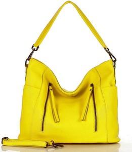 Żółta torebka GENUINE LEATHER na ramię
