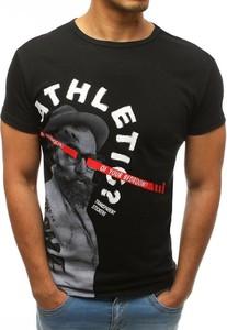 Czarny t-shirt Dstreet z nadrukiem z krótkim rękawem