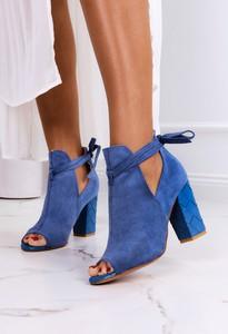Niebieskie botki Casu z zamszu na zamek