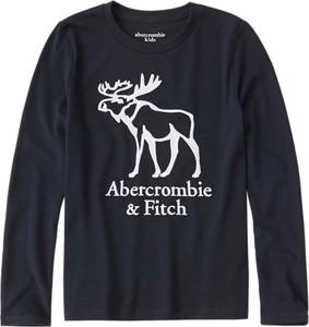 Granatowa koszulka dziecięca Abercrombie & Fitch z dżerseju z długim rękawem