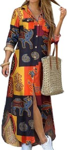 Sukienka Cikelly maxi koszulowa z długim rękawem