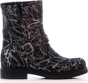 Czarne botki Zapato w stylu casual z płaską podeszwą na zamek