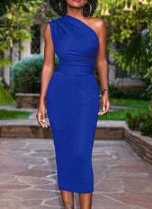 Niebieska sukienka Cikelly bez rękawów z okrągłym dekoltem maxi
