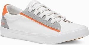 Ombre Buty męskie trampki T346 - białe/pomarańczowe