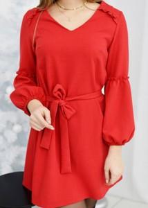 Czerwona sukienka Fason mini z długim rękawem z bawełny