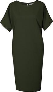 Zielona sukienka Fokus midi z okrągłym dekoltem