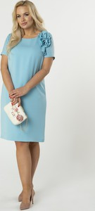 Sukienka Ptakmoda.com z okrągłym dekoltem dopasowana midi