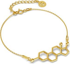 GIORRE SREBRNA BRANSOLETKA ESTROGEN, WZÓR CHEMICZNY 925 : Kolor pokrycia srebra - Pokrycie Żółtym 24K Złotem
