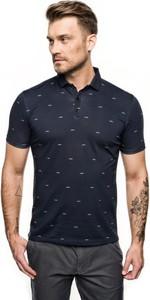 Granatowa koszulka polo Recman z krótkim rękawem w stylu casual
