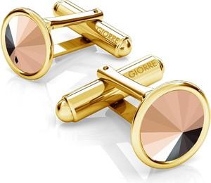 GIORRE SREBRNE SPINKI DO MANKIETU SWAROVSKI RIVOLI 925 : Kolor kryształu SWAROVSKI - Rose Gold, Kolor pokrycia srebra - Pokrycie Żółtym 24K Złotem