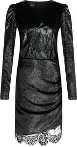 Czarna sukienka Pinko z długim rękawem mini z dekoltem w kształcie litery v