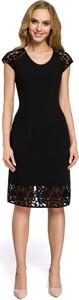 Czarna sukienka MOE z okrągłym dekoltem midi z krótkim rękawem