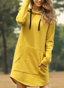Żółta sukienka Cikelly z bawełny z dekoltem w kształcie litery v mini