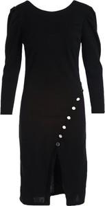 Czarna sukienka Multu w stylu casual z długim rękawem mini