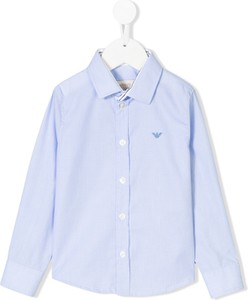Błękitna koszula dziecięca Emporio Armani Kids z bawełny dla chłopców z długim rękawem