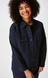 Granatowa kurtka YESSICA w stylu casual krótka z lnu