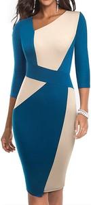Sukienka Arilook z okrągłym dekoltem asymetryczna midi