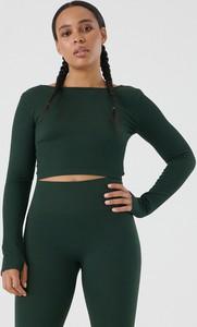 Zielona bluzka Sinsay w stylu casual z okrągłym dekoltem z długim rękawem