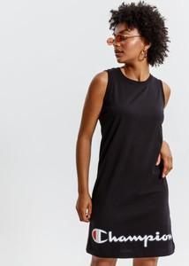 Czarna sukienka Champion z okrągłym dekoltem mini w sportowym stylu