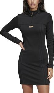Czarna sukienka Adidas mini z kołnierzykiem dopasowana