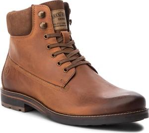 Brązowe buty zimowe Lasocki For Men sznurowane ze skóry