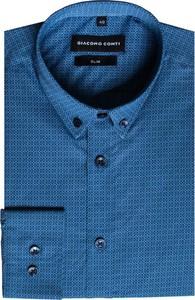 Niebieska koszula Giacomo Conti z długim rękawem z bawełny z kołnierzykiem button down