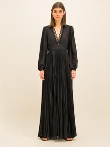 Czarna sukienka Babylon z długim rękawem maxi z dekoltem w kształcie litery v