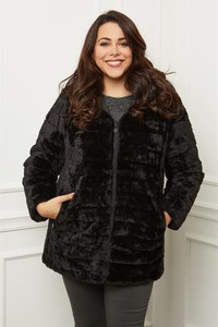 Czarna kurtka Curvy Lady w stylu casual