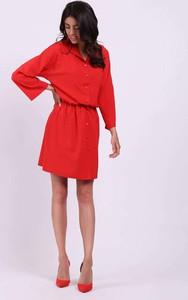 Czerwona sukienka Nommo mini koszulowa