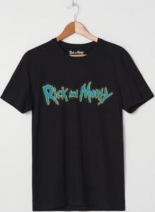 Czarny t-shirt House w młodzieżowym stylu z krótkim rękawem z nadrukiem