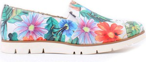 Zapato półbuty - skóra naturalna - model 252 - kolor kwiatek