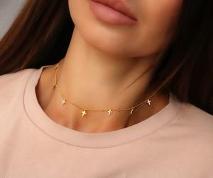 coccola.pl Złoty choker/ naszyjnik z krzyżykami cyrkonie- srebro 925 pozłacane one size