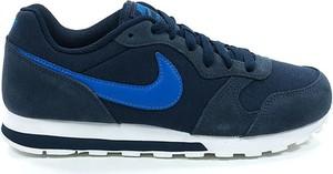 Granatowe buty sportowe Nike z płaską podeszwą ze skóry md runner