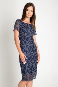 Niebieska sukienka QUIOSQUE midi z krótkim rękawem