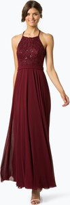 Czerwona sukienka Marie Lund w stylu glamour z szyfonu maxi