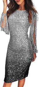 Sukienka Cikelly z okrągłym dekoltem z długim rękawem w stylu boho