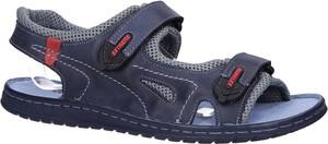 Niebieskie buty letnie męskie Windssor ze skóry na rzepy