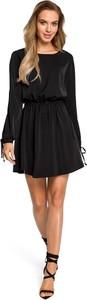 Czarna sukienka Merg mini z długim rękawem
