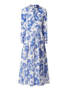 Niebieska sukienka 0039 Italy koszulowa z długim rękawem