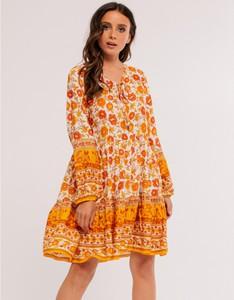 Pomarańczowa sukienka Milena Płatek z długim rękawem