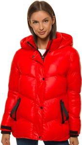 Czerwona kurtka Ozonee w stylu casual krótka z kapturem