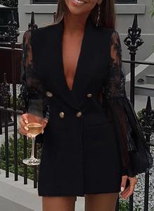 Czarna sukienka Cikelly z dekoltem w kształcie litery v mini z długim rękawem