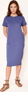 Niebieska sukienka Byinsomnia z krótkim rękawem z okrągłym dekoltem w stylu casual