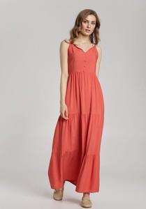 Czerwona sukienka Renee z dekoltem w kształcie litery v maxi