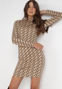 Sukienka born2be z golfem w stylu casual dopasowana