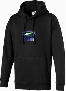 Czarna bluza Puma z nadrukiem w młodzieżowym stylu z plaru