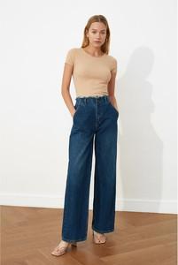 Niebieskie jeansy Trendyol z jeansu w stylu casual