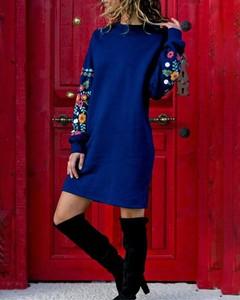Sukienka Kendallme mini z długim rękawem z okrągłym dekoltem