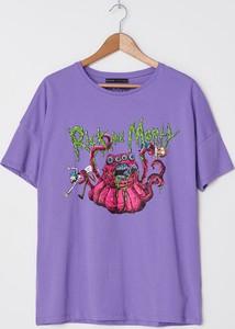 Fioletowy t-shirt House z krótkim rękawem