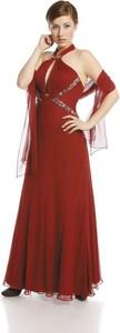 Czerwona sukienka Fokus maxi rozkloszowana z szyfonu